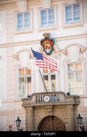 Czech Republic, Prague 16-04-2019: US Embassy in Prague. Mid shot - Stock Image