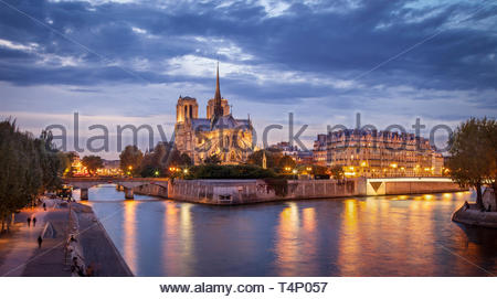 Cathedral Notre Dame and River Seine, Paris France - Stock Image