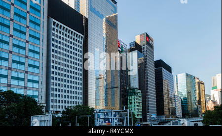 Rows of high rise buildings,  Wan Chai district,Hong Kong Island - Stock Image