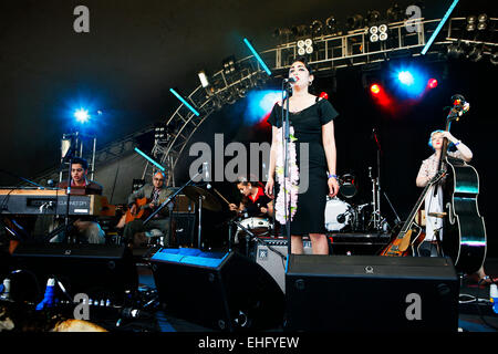 Kitty Daisy and Lewis live at Underage Festival in Victoria Park London. - Stock Image