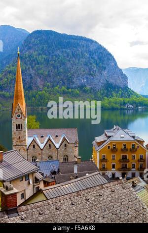 Hallstatt, village in the mountains in Austria - Stock Image