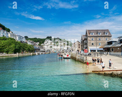 6 June 2018: Looe, Cornwall, UK - The River Looe, and the town, on a beautiful spring day. - Stock Image