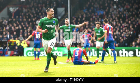 Anthony Knockaert of Brighton scores their second goal during the Premier League match between Crystal Palace and Brighton & Hove Albion at Selhurst Park London . 09 March 2019 Editorial use only. No merchandising. For Football images FA and Premier League restrictions apply inc. no internet/mobile usage without FAPL license - for details contact Football Dataco - Stock Image