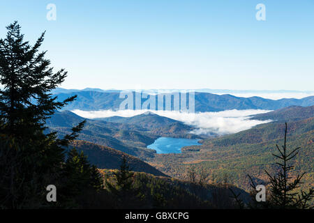View of mountains and lake Blue Ridge Parkway, NC - Stock Image