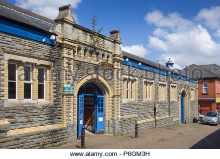 Pontypool Market Hall, a Grade II listed Victorian building in Torfaen, Gwent, Wales, UK. - Stock Image