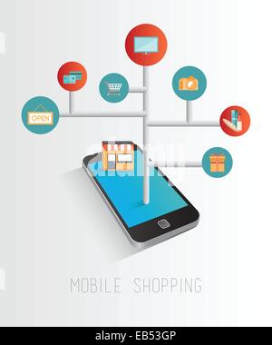Smartphone accessing online retail concept - Stock Image