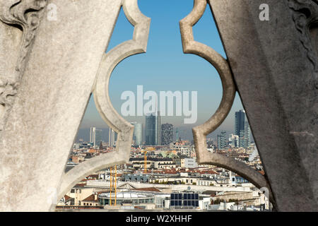 Italy, Lombardy, Milan, cityscape from Duomo rooftop - Stock Image