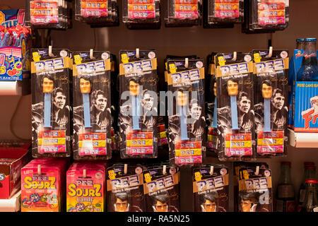 Elvis Presley Pez dispensers for sale at It'sugar, a candy by the pound store on Broadway in Greenwich Village, New York City.rock satr - Stock Image