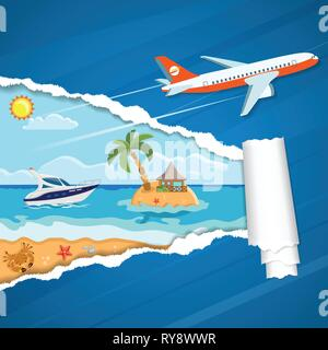 Vacation Concept Island through Torn Hole in Paper - Stock Image
