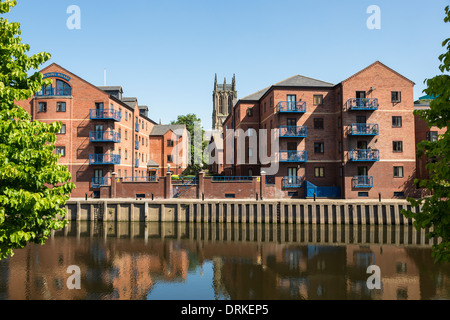 Housing development at Langtons Wharf, River Aire at The Calls, Leeds, England - Stock Image