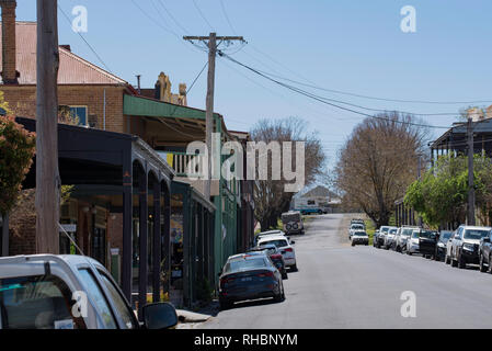 Looking up the main street of the town of Milthorpe in central western New South Wales, Australia - Stock Image
