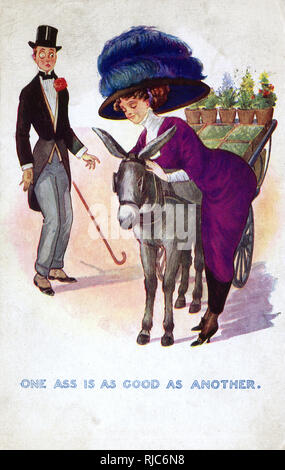Comic Postcard - One Ass is as Good as Another - This lovely lady - a vision in purple and mauve - is fainding far more pleasure channeling her affections toward the flower stall-pulling donkey than the other 'rather wet' Ass in monacle and ill-fitting suit, who has dropped his cane in surprise (!) at her choice!!! - Stock Image