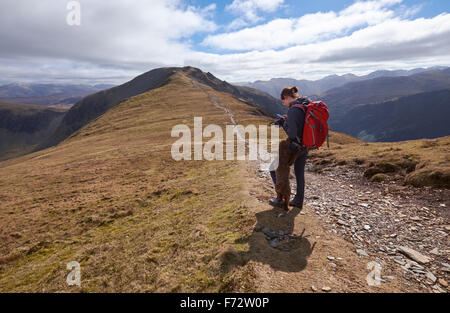 A hiker checking GPS position on Hindscarth Edge with Dale Head in the distance, English Lake District, UK. - Stock Image