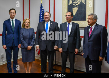 U.S. Secretary of State Michael R. Pompeo, U.S. Secretary of the Treasury Steven Mnuchin, U.S. Secretary of Homeland Security Kirstjen Nielsen and Senior Advisor to the President Jared Kushner meet with Mexican President-elect Andres Manuel Lopez Obrador in Mexico City, Mexico on July 13, 2018. - Stock Image