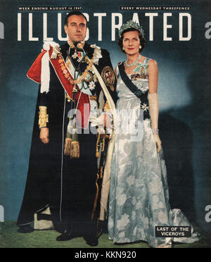 1947 News Review Magazine Viceroy & Vicereine of India - Stock Image