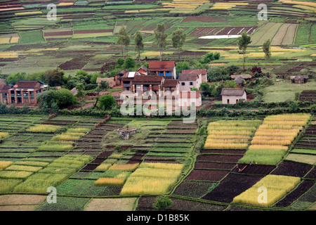 Rural Farming Community and Surrounding Countryside from Lake Tritriva, Madagascar, Africa. - Stock Image