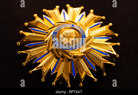 Grand Cross of the French National Order of Merit, conferred to the President of Finland Mauno Koivisto on 25th November 1980. - Stock Image