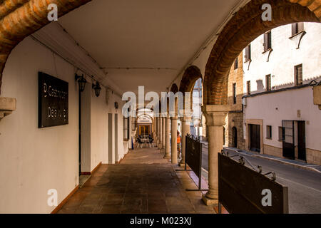 RONDA, ANDALUSIA / SPAIN - OCTOBER 08 2017: COLONNADE ON PEDESTRIAN SIDEWALK - Stock Image