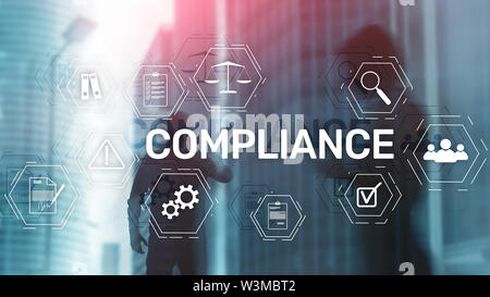Compliance diagram with icons. Business concept on abstract background - Stock Image