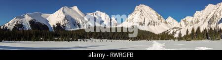 Wide Panoramic Landscape of Snowy Mountain Peaks Snowshoeing on a cold Winter Day in Kananaskis Country, Alberta Canada - Stock Image