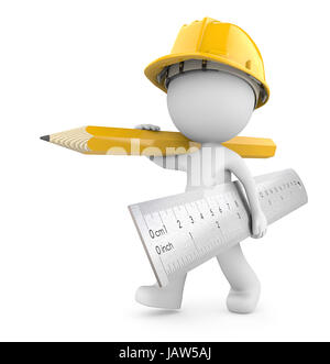 Dude 3D character the Builder carrying large Ruler and Pencil. Yellow theme. 3d Render. - Stock Image