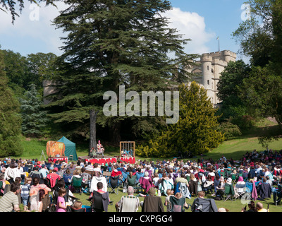 Outdoor theatre performance at Eastnor castle in Britain - Stock Image