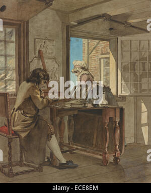 The Artist in his Atelier; Christiaan Andriessen, Dutch, 1775 - 1846; about 1805 - 1808; Black chalk and watercolor; - Stock Image