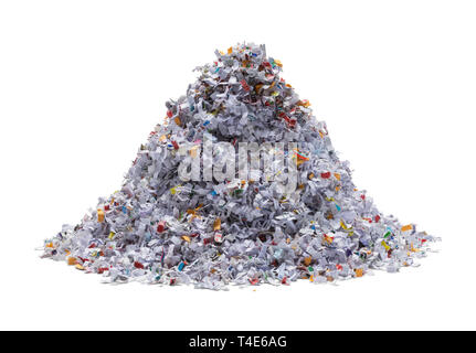 Pile of Shredded Paper Isolated on White Background. - Stock Image