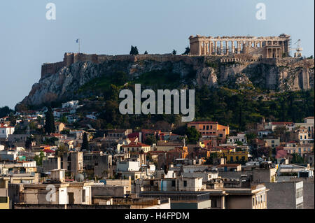 Athens, Greece. The Acropolis of Athens. from Fresh Hotel. - Stock Image