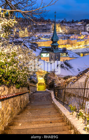 Old town in a snow day,  Salzburg, Austria - Stock Image