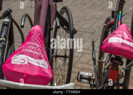 Bicycle seats with Race for Life covers by Cancer Research in Cambridge, England, UK. - Stock Image