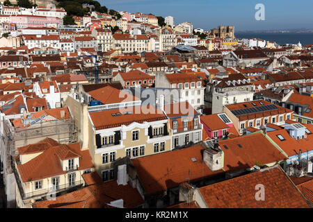View of Lisbon, Portugal from the Santa Justa Lift, towards the sea and the Lisbon Cathedral. - Stock Image