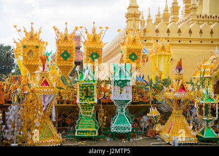 People at a ceremony at the Pha That Luang Festival in the city of vientiane in Laos in the southeastasia. - Stock Image