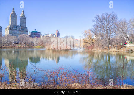 View of Emery Roth's San Remo Apartments from Central Park, New York - Stock Image