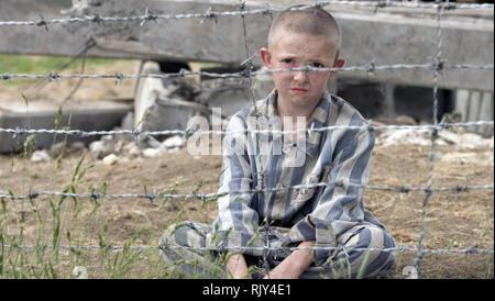 THE BOY IN THE STRIPED PJAMAS 2008 Miramax film with Jack Scanlon - Stock Image