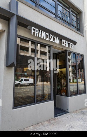 GREENSBORO, NC, USA-2/14/19: The storefront of the Franciscan Center, which seeks to reflect Catholic and Franciscan traditions. - Stock Image