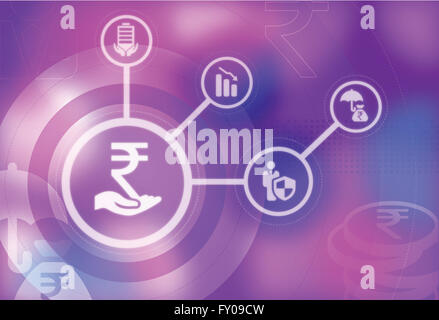 Human hand holding Indian currency symbol represents the concept of securing Rupee currency - Stock Image