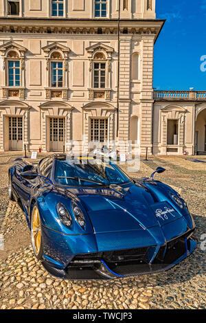 Piedmont Turin - Turin auto show 2019  - Valentino park - Valentino castle -Pagani Zonda Barchetta - Stock Image