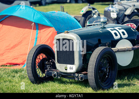 classic car and tent - Stock Image