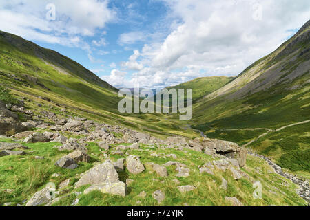Pasture Beck with Hartsop and Brock Crags in the distance in the English Lake District, UK. - Stock Image