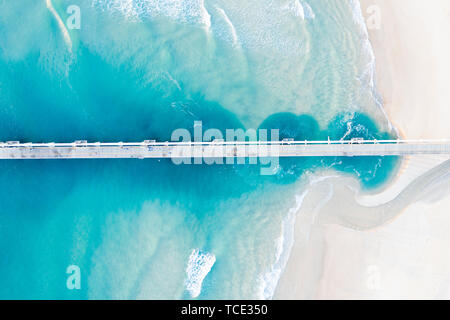 Aerial view of a pier, The Spit, Gold Coast, Queensland, Australia - Stock Image