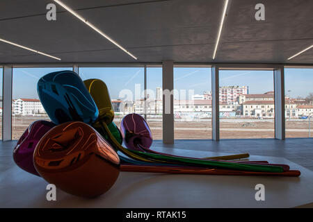 Tulips by Jeff Koons, in the new Torre building of Fondazione Prada, Milan, Italy - Stock Image