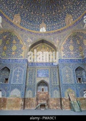 Qibla dome chamber, Imam mosque, Isfahan, Iran - Stock Image