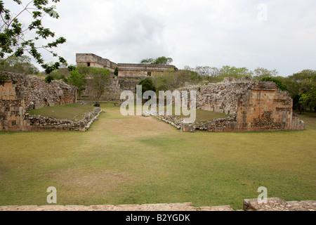 Ball Court, Uxmal Archealogical Site, Yucatan Peninsular, Mexico - Stock Image