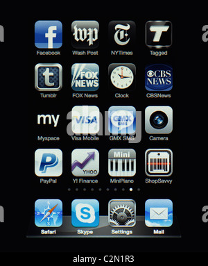 Image of the iphone touch screen. Display shows a collection of useful apps with blue and grey color scheme. - Stock Image
