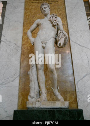 A second century AD Roman sculpture of Hermes, copied from an earlier Greek original, on Display at the British museum, London, England - Stock Image
