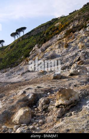 The Solfatara Crater in the volcanic landcape of Campi Flegrei, near Naples. Italy. - Stock Image