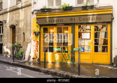 Creperie Eustache - a pancake joint exterior in the 1st arrondissement of Paris, France. - Stock Image