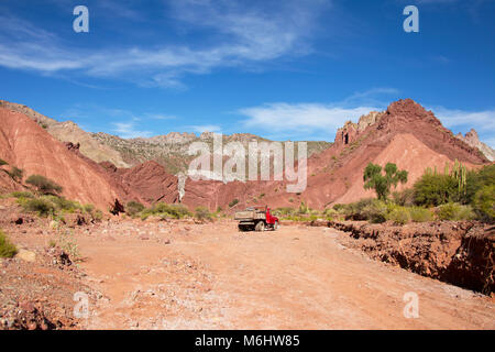 Red mountains in Tupiza, Bolivia - Stock Image