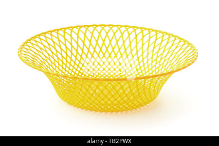 Empty  yellow plastic  hollow fruit dish  isolated on white - Stock Image